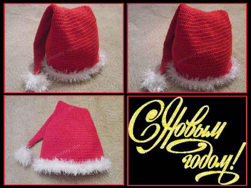 Новогодняя шапка колпак крючком
