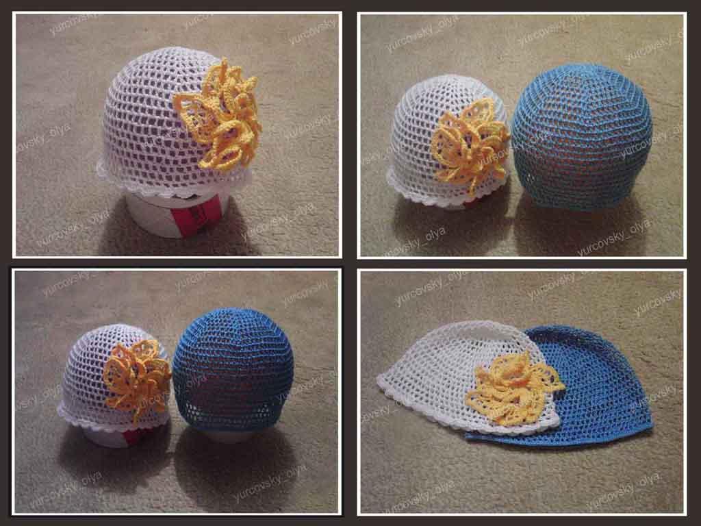 Летняя шапочка сеточкой крючком