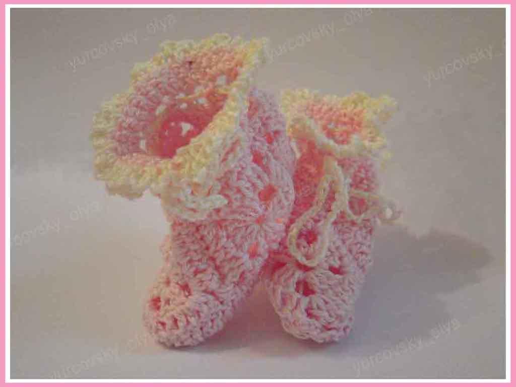 вязание для детей. пинетки - тапочки